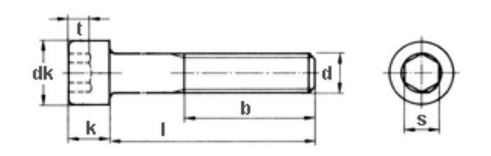 Innensechskantschraube M6x55, Güte 8. 8, vz, 200 Stk.