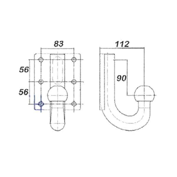 Kugelkopf- Flanschkugel-Kupplungskugel 4- Loch 90mm unter, 22,1kN
