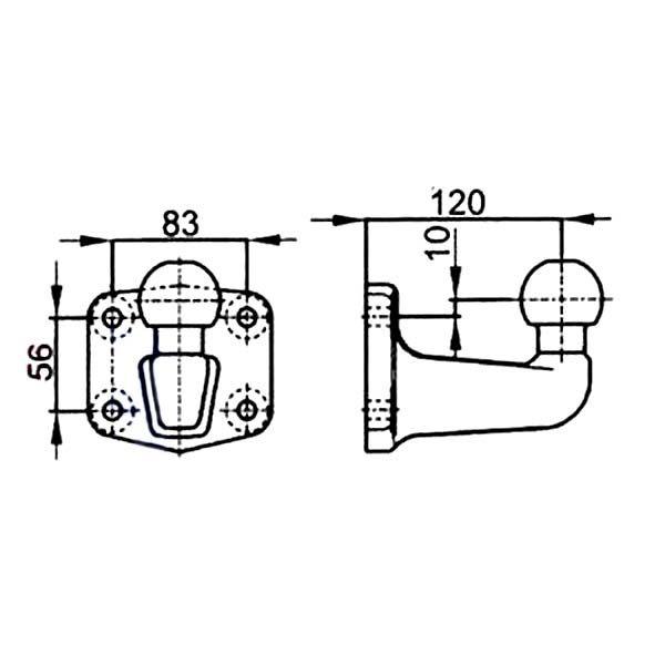 Kugelkopf- Flanschkugel-Kupplungskugel 4- Loch 19mm über, 23,5kN