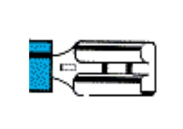Flachsteckhülse, isoliert, blau, 6,3mm, Lieferumfang 100 Stk.