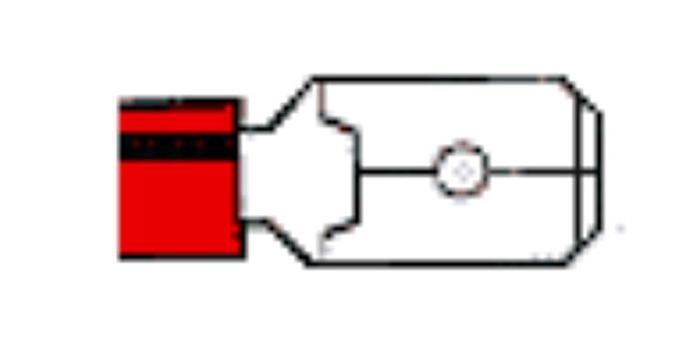 Flachsteckzunge, 4,8mm, isoliert rot, Lieferumfang 100 Stk.