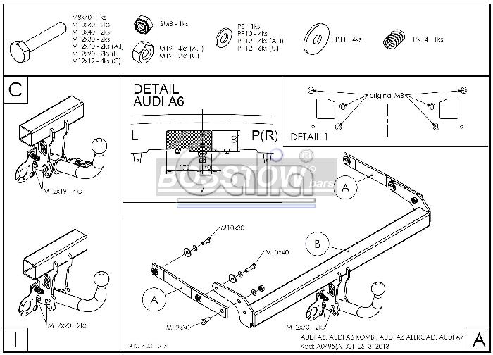 Anhängerkupplung für Audi-A6 Avant - 2014-2018 4GD/4G, C7, Quattro Ausf.:  feststehend