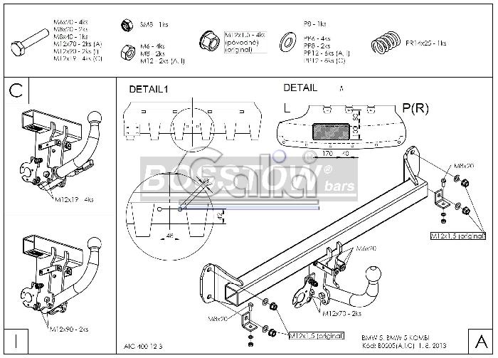 Anhängerkupplung für BMW-5er - 2014- GT F07 Ausf.:  feststehend