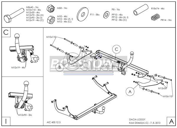 Anhängerkupplung für Dacia-Lodgy - 2012- Stepway 5-Sitzer Ausf.:  feststehend
