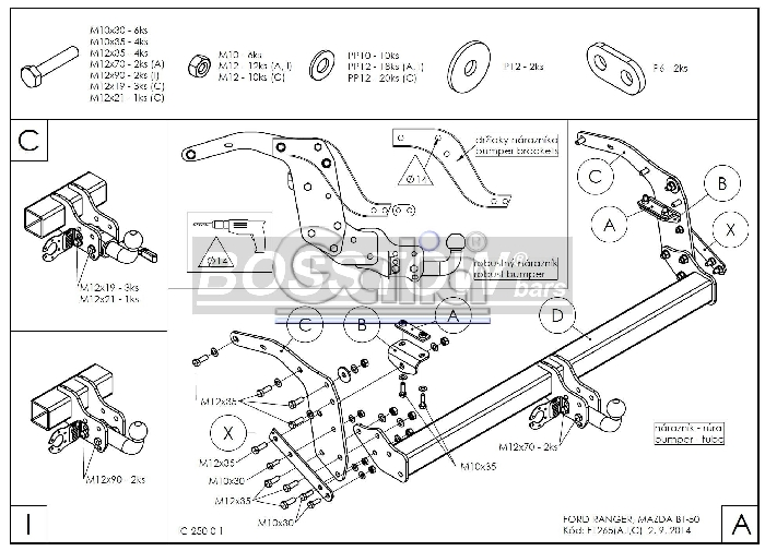 Anhängerkupplung für Ford-Ranger - 2012-2016 4x4 WD m. Rohrstoßfänger Ausf.:  feststehend