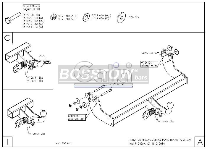 Anhängerkupplung für Ford-Tourneo Custom - 2019- f. Fzg. mit Elektrosatz Vorbereitung, Fzg. mit Euro 6.2 Motor Ausf.:  feststehend