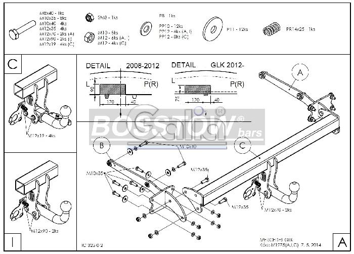 Anhängerkupplung für Mercedes-GLK - 2008- X204 Ausf.:  feststehend