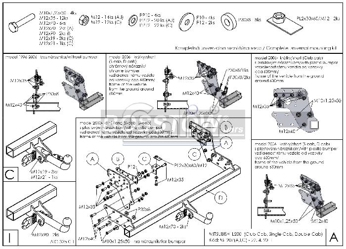 Anhängerkupplung für Mitsubishi-L200 - 2010-2015 Fzg. mit Kunststoff- Stossstange Ausf.:  feststehend