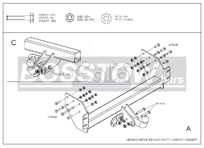 Anhängerkupplung für Nissan-NT400 - 2014- Cabstar Ausf.:  feststehend