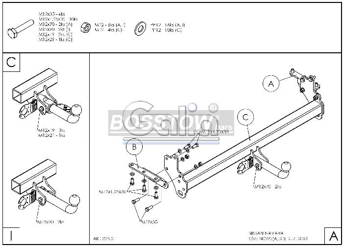 Anhängerkupplung für Nissan-Pick-Up - 2005-2010 NP300 D22 mit Trittstoßstange Ausf.:  feststehend