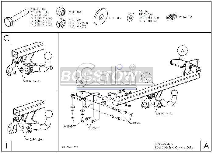 Anhängerkupplung für Opel-Meriva - 2014- B, Minivan, nicht für Kfz. mit Fahrradträgersystem Flex-Fix Ausf.:  feststehend