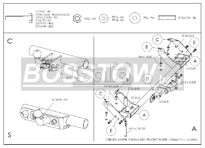 Anhängerkupplung für Peugeot-Boxer - 2002-2006 Kasten/ Bus/ Kombi 2 WD Ausf.:  feststehend