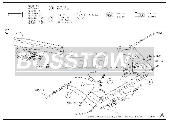 Anhängerkupplung für Renault-Scenic - 1997-1999 Scenic I, nicht 2. 0 16V Ausf.:  feststehend