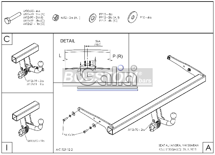 Anhängerkupplung für Seat-Alhambra - 2013- incl 4x4 Ausf.:  feststehend
