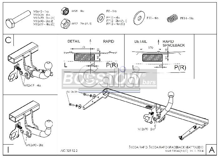 Anhängerkupplung für Skoda-Rapid - 2013-2015 Spaceback Ausf.:  feststehend