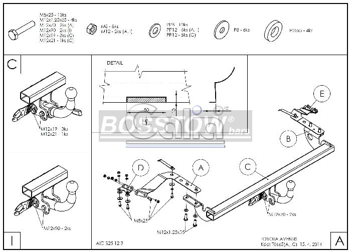 Anhängerkupplung für Toyota-Avensis - 2003-2009 T25, Limousine Ausf.:  feststehend