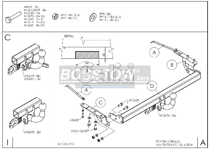 Anhängerkupplung für Toyota-Corolla - 2002-2004 (E12) Fließheck Ausf.:  feststehend