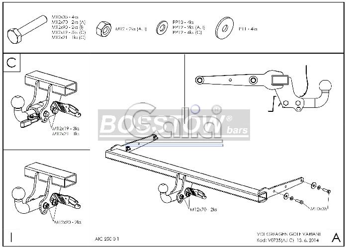 Anhängerkupplung für VW-Golf - 2014-2017 VII Variant Ausf.:  feststehend