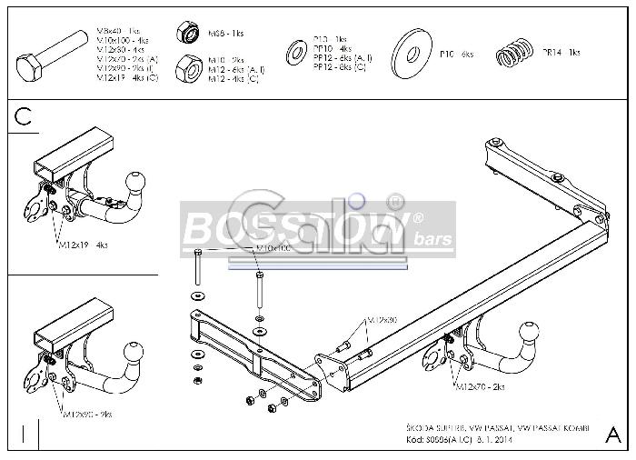 Anhängerkupplung für VW-Passat - 2000- 3b, nicht 4-Motion, Variant Ausf.:  feststehend