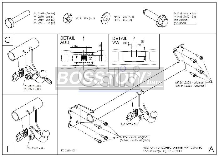 Anhängerkupplung für VW-Touareg - 2002-2005 f. Fzg. m. Reserverad am Boden Ausf.:  feststehend