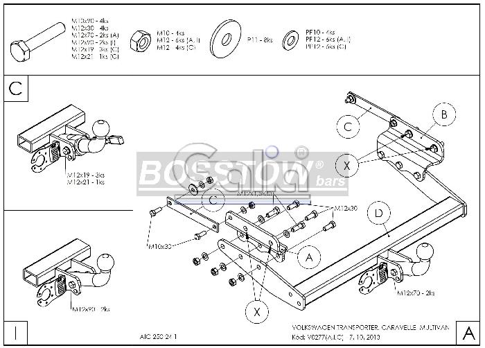 ahk pkw vw transporter t4 syncro inkl caravelle multivan 98 starr. Black Bedroom Furniture Sets. Home Design Ideas