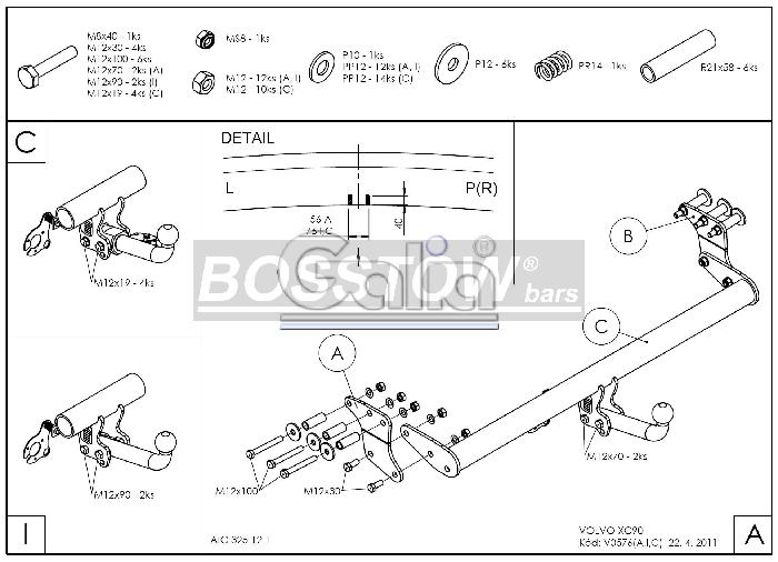 Anhängerkupplung für Volvo-XC 90 - 2004-2015 Ausf.:  feststehend