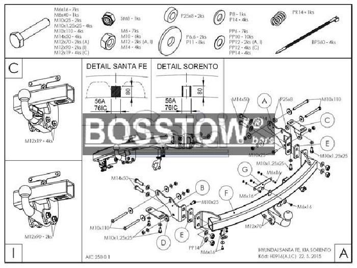Anhängerkupplung für Kia-Sorento - 2012-2014 XM Ausf.:  horizontal