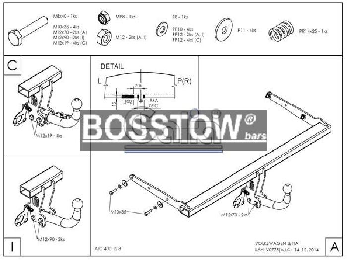 Anhängerkupplung für VW-Jetta - 2011-2014 IV Ausf.:  horizontal