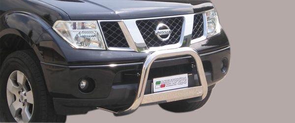 Frontschutzbügel Kuhfänger Bullfänger Nissan Navara 2005-2010, Medium Bar 63mm Edelstahl Omologato Inox