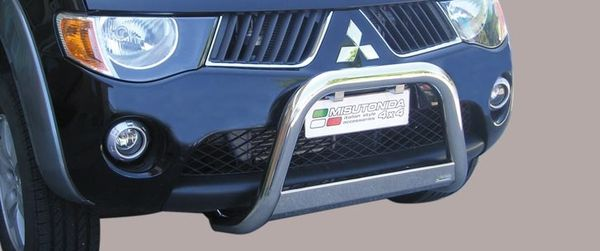 Frontschutzbügel Kuhfänger Bullfänger Mitsubishi L200 Double Cab 2006-2009, Medium Bar 63mm Edelstahl Omologato Inox