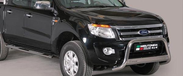 Frontschutzbügel Kuhfänger Bullfänger Ford Ranger Super Cab Version 2012-2015, Medium Bar 63mm Edelstahl Omologato Inox