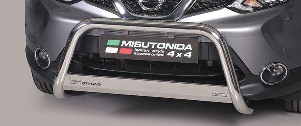 Frontschutzbügel Kuhfänger Bullfänger Nissan Qashqai 2014-, Medium Bar 63mm Edelstahl Omologato Inox