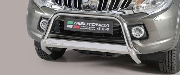 Frontschutzbügel Kuhfänger Bullfänger Mitsubishi L200 Double Cab 2015-, Medium Bar 63mm Edelstahl Omologato Inox