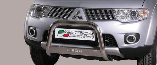Frontschutzbügel Kuhfänger Bullfänger Mitsubishi L200 Club Cab 2010-2015, Medium Bar Mark 63mm Edelstahl Omologato Inox
