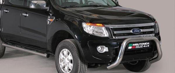 Frontschutzbügel Kuhfänger Bullfänger Ford Ranger Super Cab Version 2012-2015, Super Bar 76mm Edelstahl Omologato Inox