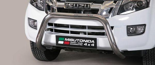 Frontschutzbügel Kuhfänger Bullfänger Isuzu D-Max Double Cab Version 2012-2017, Super Bar 76mm Edelstahl Omologato Inox