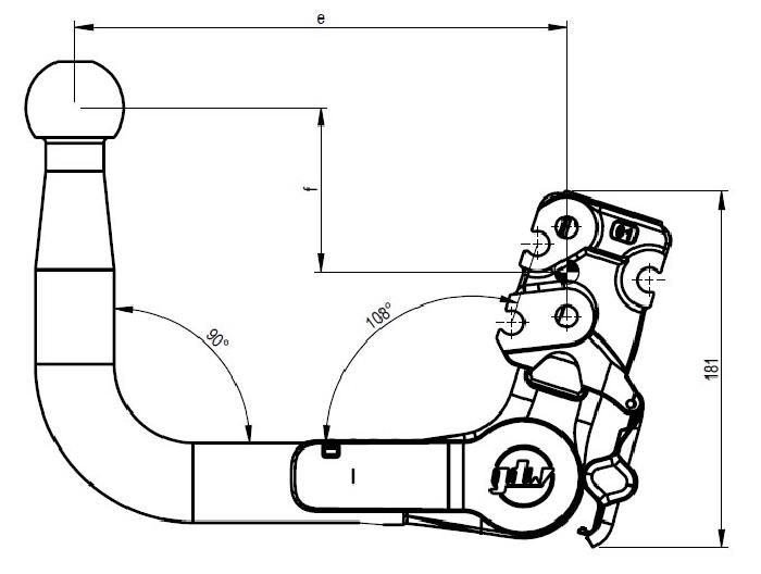 Kugelstange vertikal e 225 X f 32 X D-value 14,5 X S-load 175 GDW 960.V0806_960-15