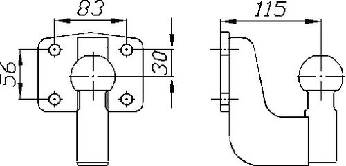 Kugelkopf- Flanschkugel-Kupplungskugel 4- Loch 30mm unter, 22,7kN