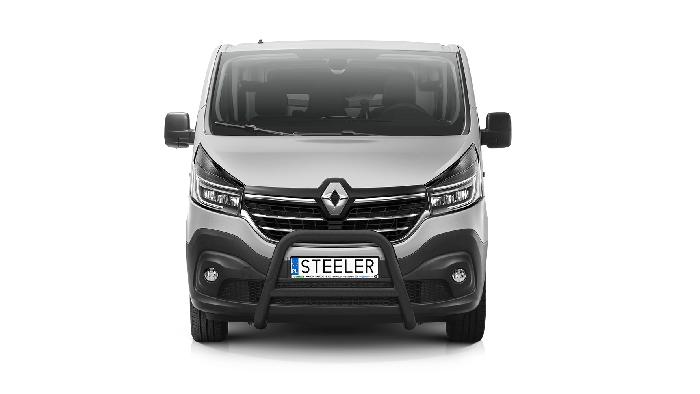 Frontschutzbügel Kuhfänger Bullfänger Renault Trafic 2019-, Steelbar Q 70mm, schwarz beschichtet