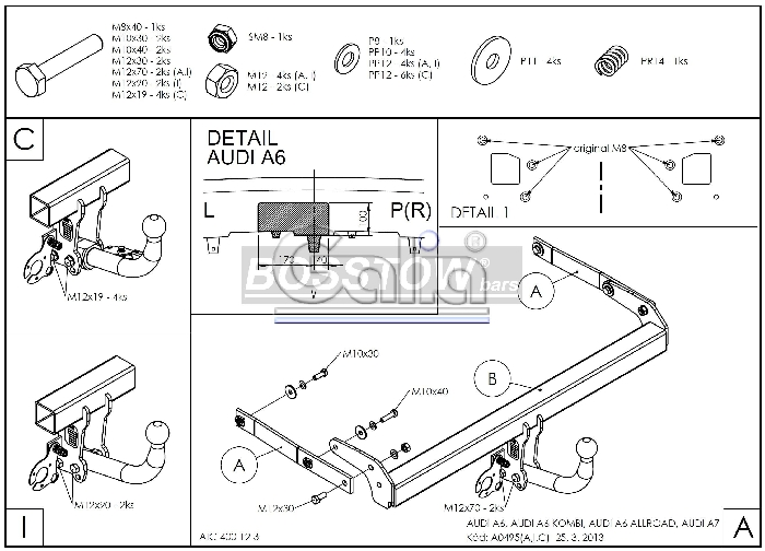 Anhängerkupplung für Audi-A6 Avant - 2011-2014 4G2/4G, C7 Ausf.:  horizontal