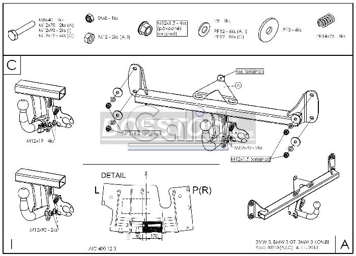 Anhängerkupplung für BMW-3er - 2014-2018 Limousine F30 Ausf.:  horizontal