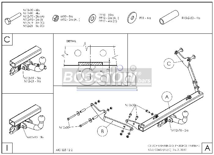 Anhängerkupplung für Citroen-Berlingo - 2008-2018 First Ausf.:  horizontal