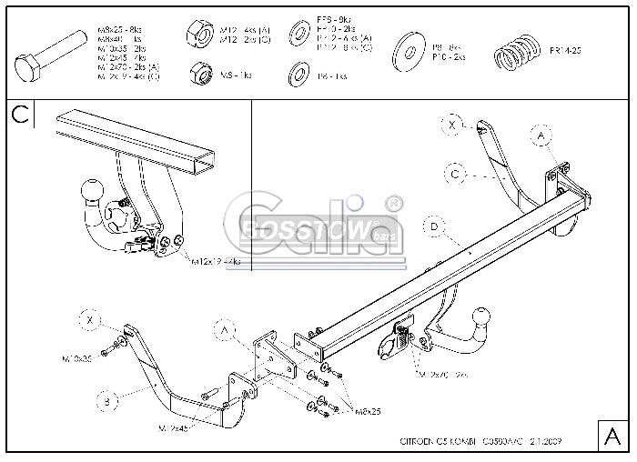 Anhängerkupplung für Citroen-C5 - 2014- Kombi Ausf.:  horizontal