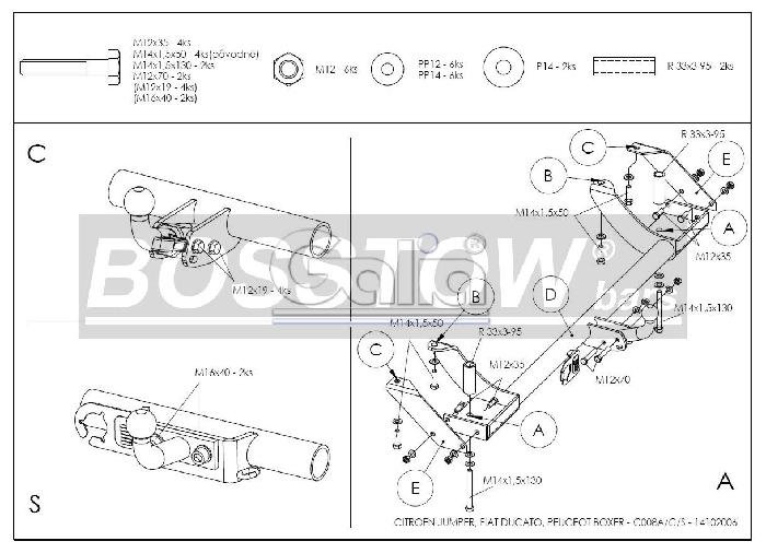 Anhängerkupplung für Citroen-Jumper - 1994-2002 Kasten/ Bus/ Kombi 2 WD Ausf.:  horizontal