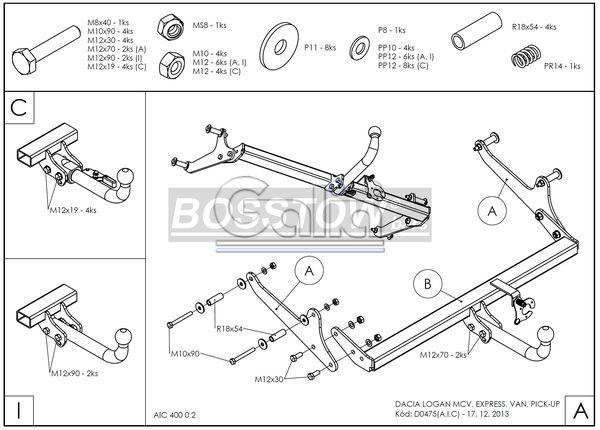 Anhängerkupplung für Dacia-Logan - 2013- Pick-Up Ausf.:  horizontal