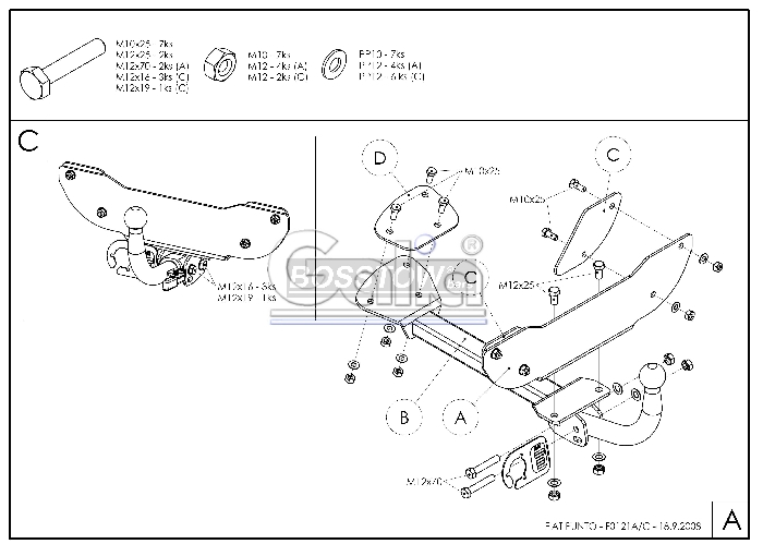 Anhängerkupplung für Fiat-Punto - 1993-1999 Cabrio Ausf.:  horizontal