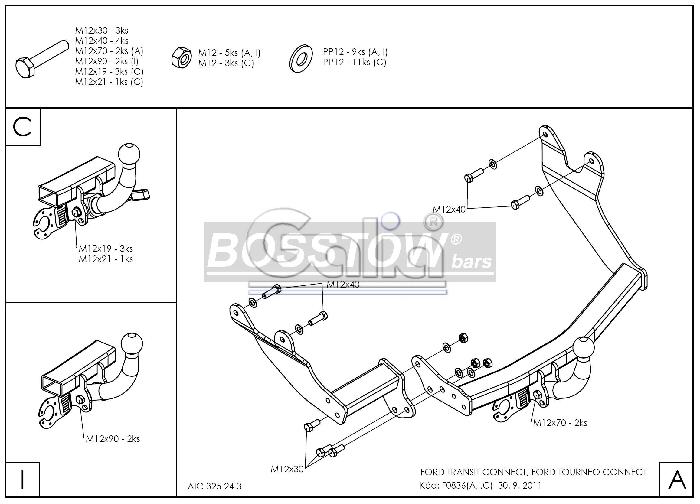 Anhängerkupplung für Ford-Tourneo Connect - 2002-2013 langer u. kurzer Radstand Ausf.:  horizontal