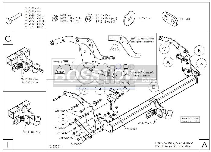 Anhängerkupplung für Mazda-BT- 50 - 2012- 2WD m. Rohrstoßfänger Ausf.:  horizontal