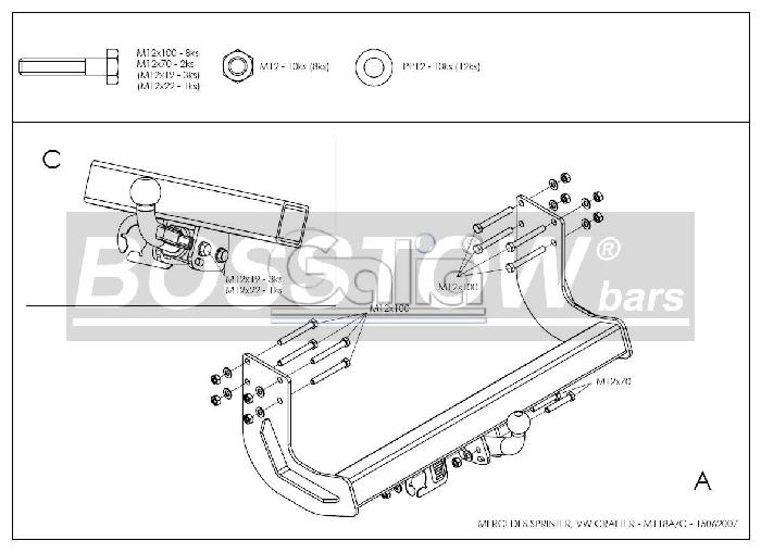 Anhängerkupplung für Mercedes-Sprinter Kastenwagen Heckantrieb - 2006-2018 409-424, Radstd. 3250mm, Fzg. ohne Trittbrettst. Ausf.:  horizontal