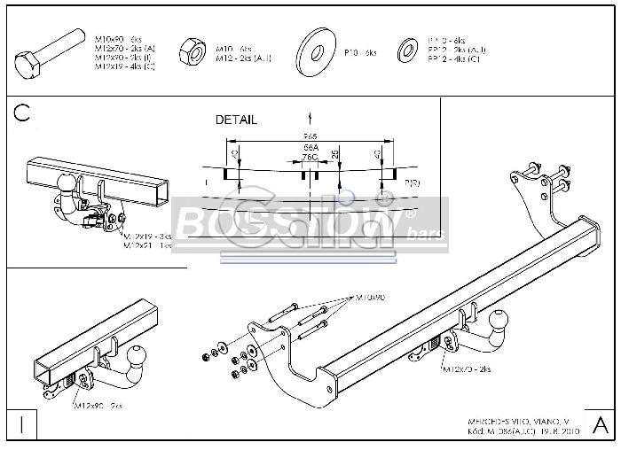 Anhängerkupplung für Mercedes-Viano - 2005-2010 W639, Fzg. o. Elektrosatz-Vorbereitung Ausf.:  horizontal